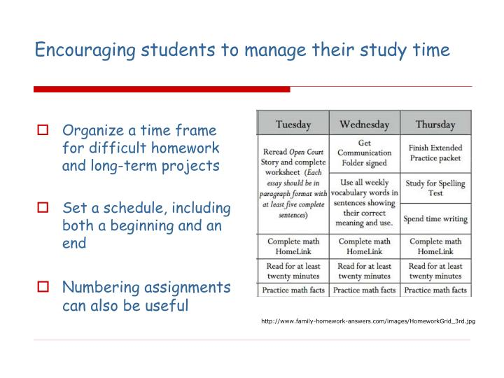 Encouraging students to manage their study time