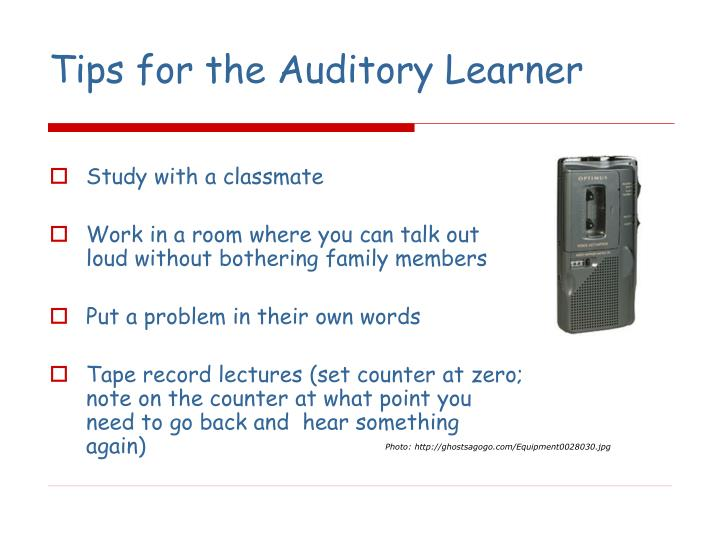 Tips for the Auditory Learner