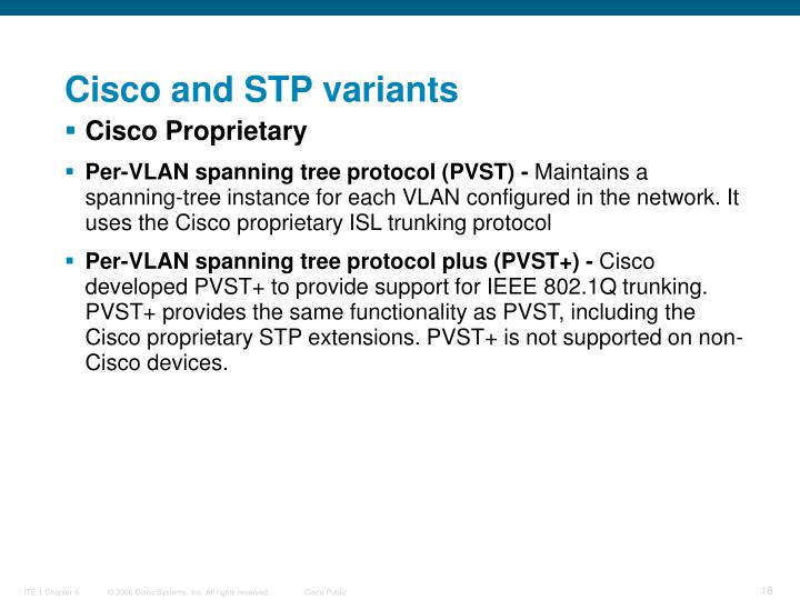 Cisco and STP variants