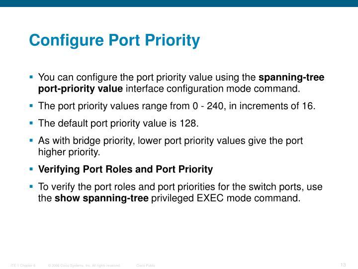 Configure Port Priority