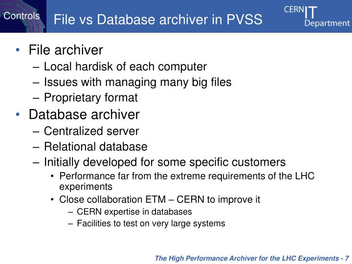 File vs Database archiver in PVSS