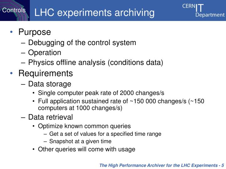 LHC experiments archiving