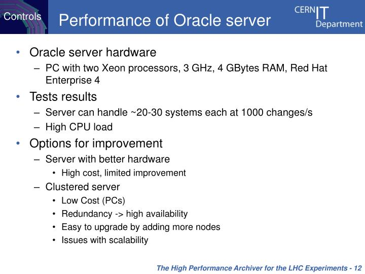 Performance of Oracle server
