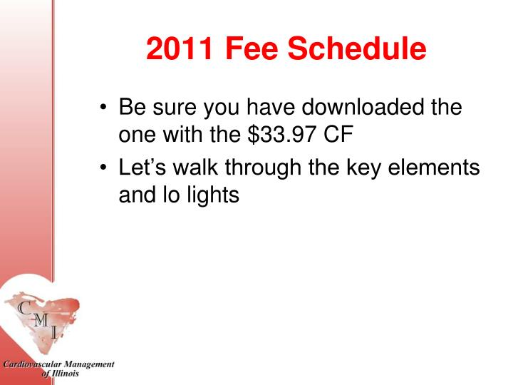 2011 Fee Schedule