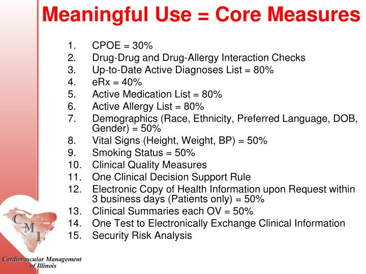 Meaningful Use = Core Measures