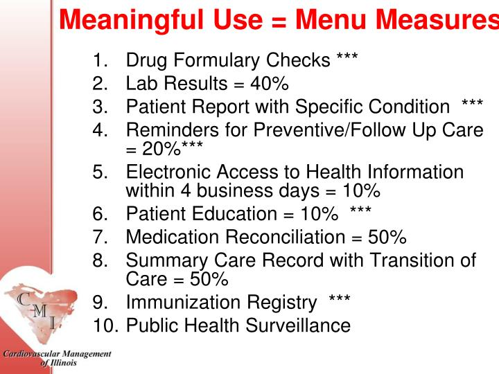 Meaningful Use = Menu Measures