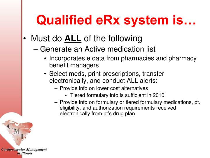Qualified eRx system is…