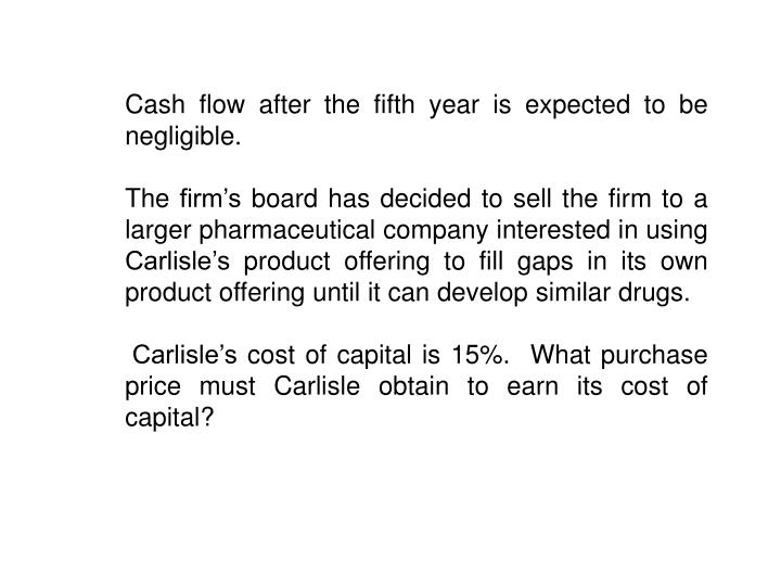 Cash flow after the fifth year is expected to be negligible.