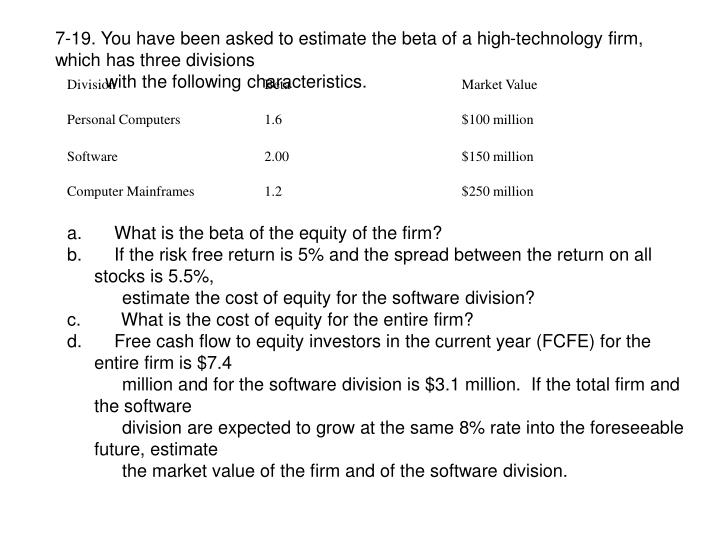 7-19. You have been asked to estimate the beta of a high-technology firm, which has three divisions