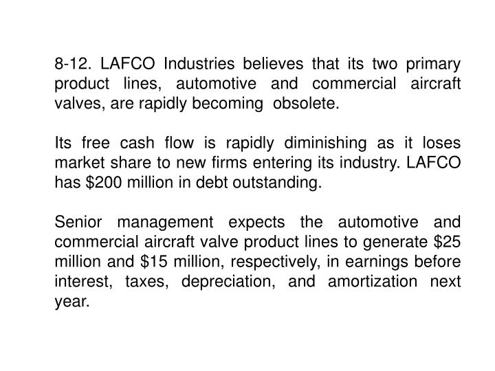 8-12. LAFCO Industries believes that its two primary product lines, automotive and commercial aircraft valves, are rapidly becoming  obsolete.