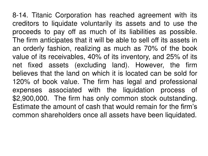 8-14. Titanic Corporation has reached agreement with its creditors to liquidate voluntarily its assets and to use the proceeds to pay off as much of its liabilities as possible.  The firm anticipates that it will be able to sell off its assets in an orderly fashion, realizing as much as 70% of the book value of its receivables, 40% of its inventory, and 25% of its net fixed assets (excluding land). However, the firm  believes that the land on which it is located can be sold for 120% of book value. The firm has legal and professional expenses associated with the liquidation process of $2,900,000.  The firm has only common stock outstanding.  Estimate the amount of cash that would remain for the firm's common shareholders once all assets have been liquidated.