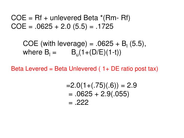 COE = Rf + unlevered Beta *(Rm- Rf)