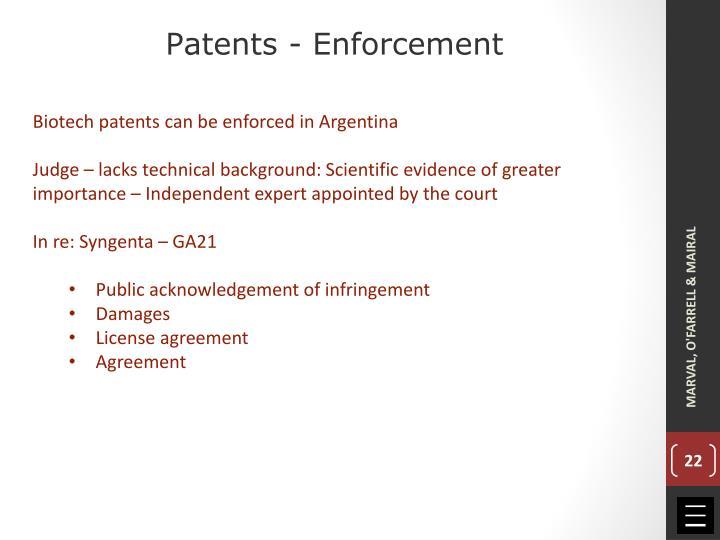 Patents - Enforcement