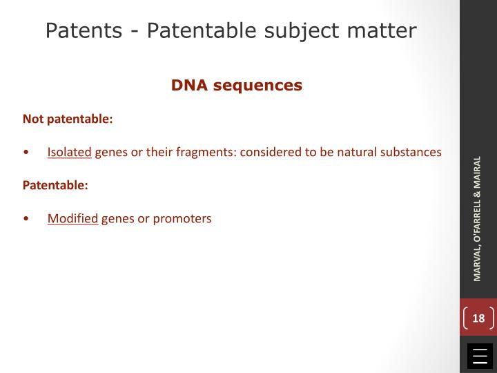 Patents - Patentable subject matter