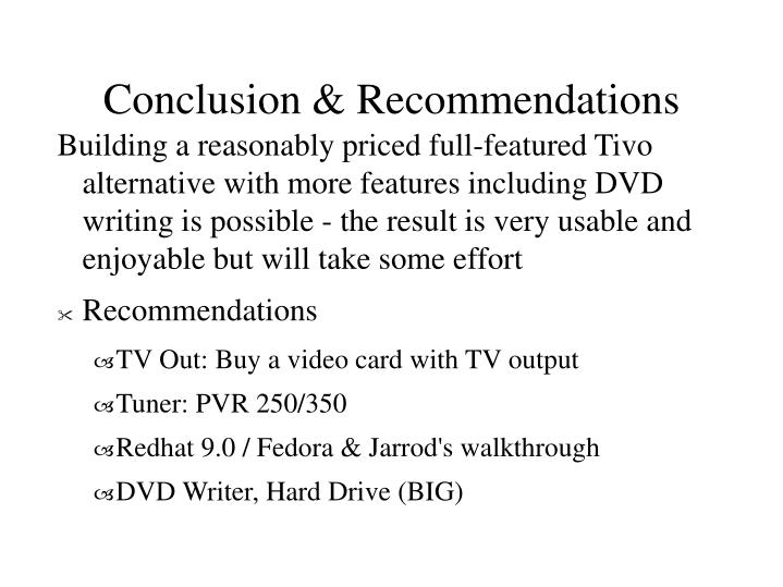 Conclusion & Recommendations