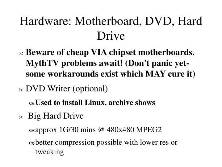 Hardware: Motherboard, DVD, Hard Drive