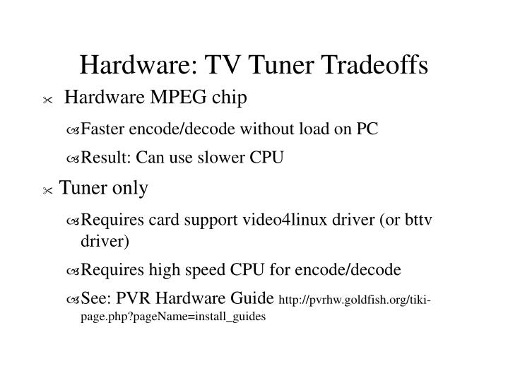 Hardware: TV Tuner Tradeoffs