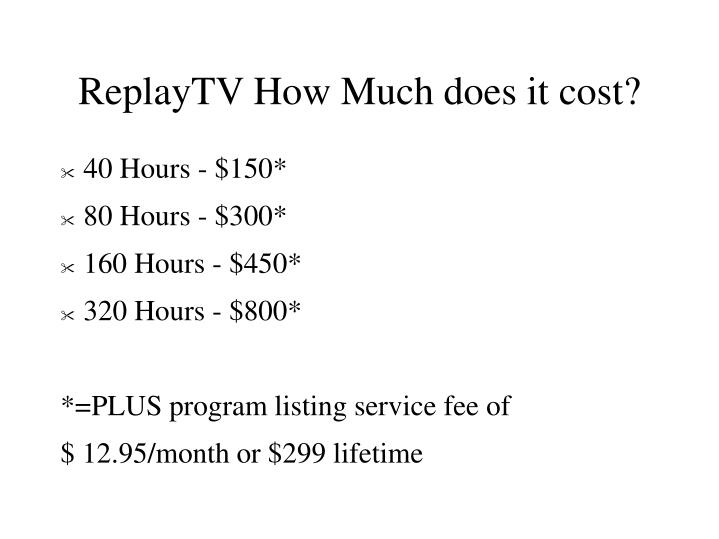 ReplayTV How Much does it cost?