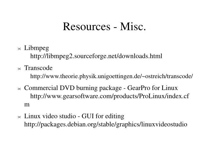 Resources - Misc.