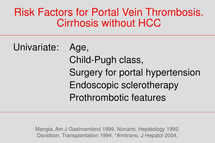 Risk Factors for Portal Vein Thrombosis.