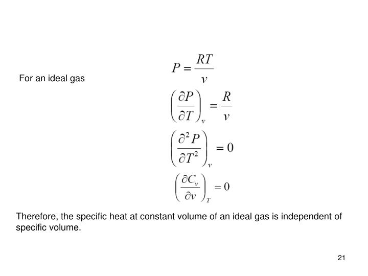 For an ideal gas