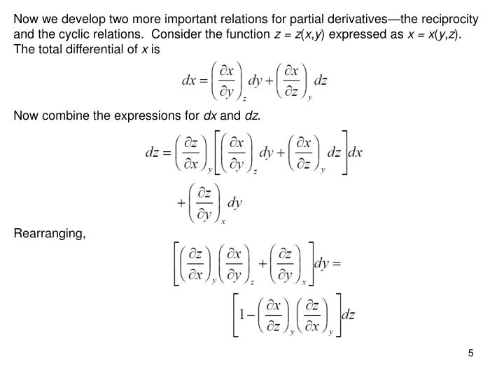 Now we develop two more important relations for partial derivatives—the reciprocity and the cyclic relations.  Consider the function