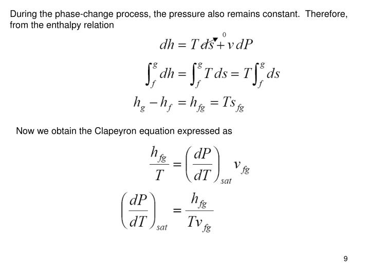 During the phase-change process, the pressure also remains constant.  Therefore, from the enthalpy relation