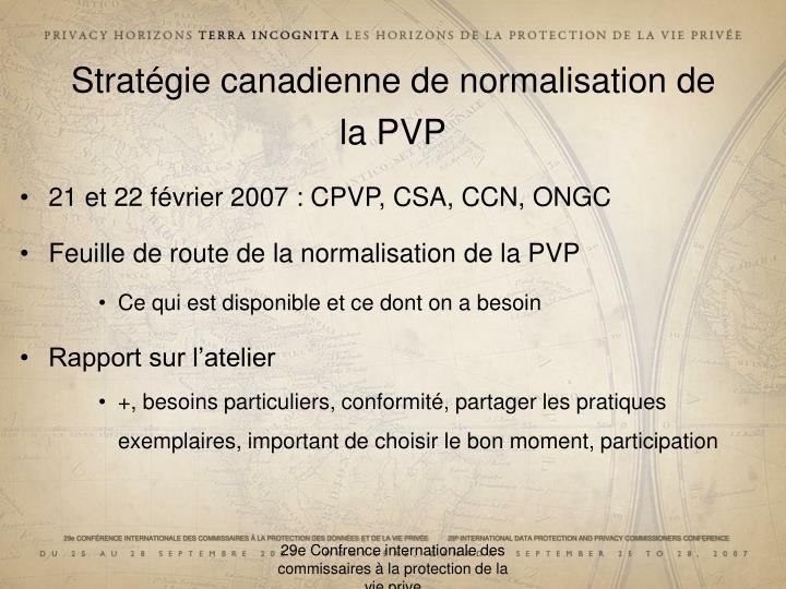 Stratégie canadienne de normalisation de la PVP