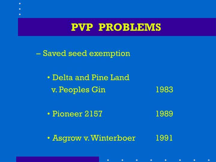 PVP  PROBLEMS