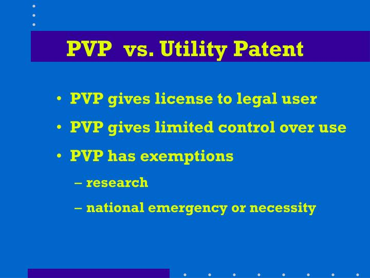 PVP  vs. Utility Patent