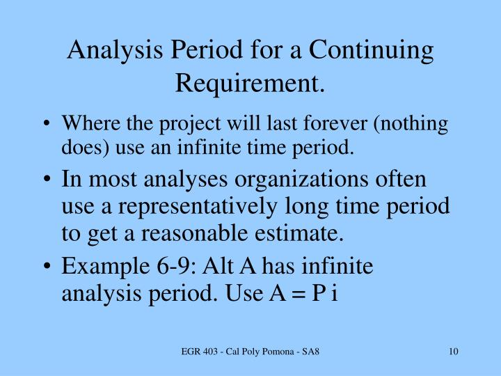 Analysis Period for a Continuing Requirement.