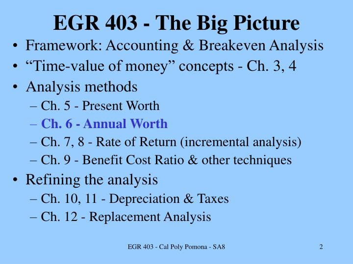 EGR 403 - The Big Picture