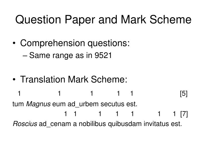 Question Paper and Mark Scheme