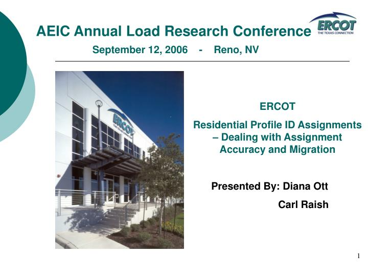 Aeic annual load research conference september 12 2006 reno nv