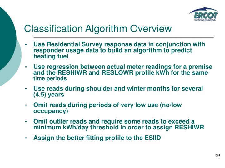 Classification Algorithm Overview
