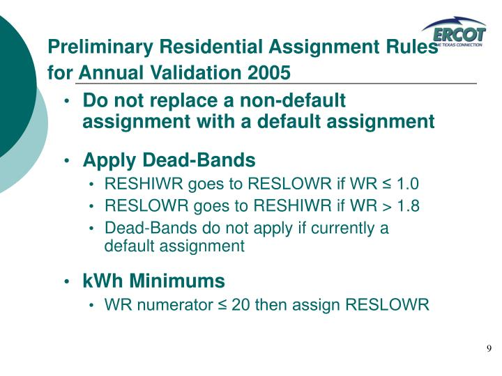 Preliminary Residential Assignment Rules for Annual Validation 2005