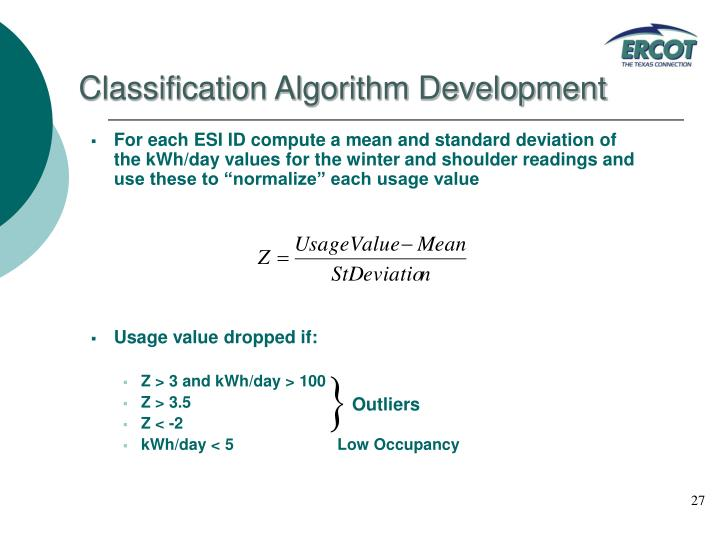Classification Algorithm Development