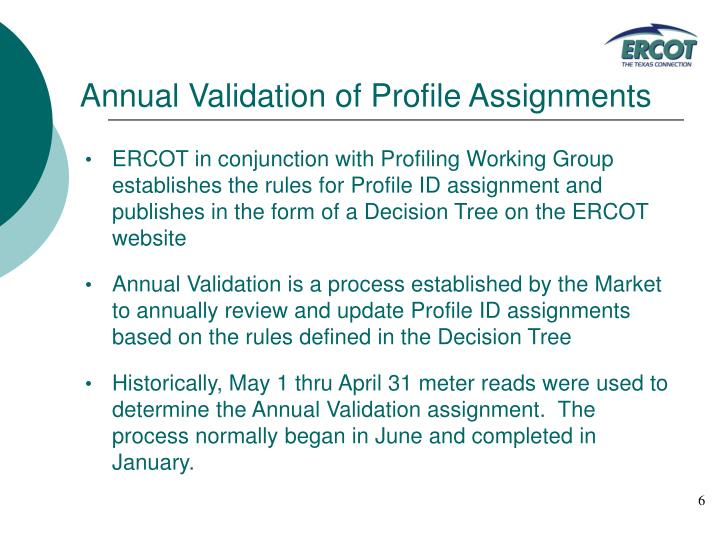 Annual Validation of Profile Assignments