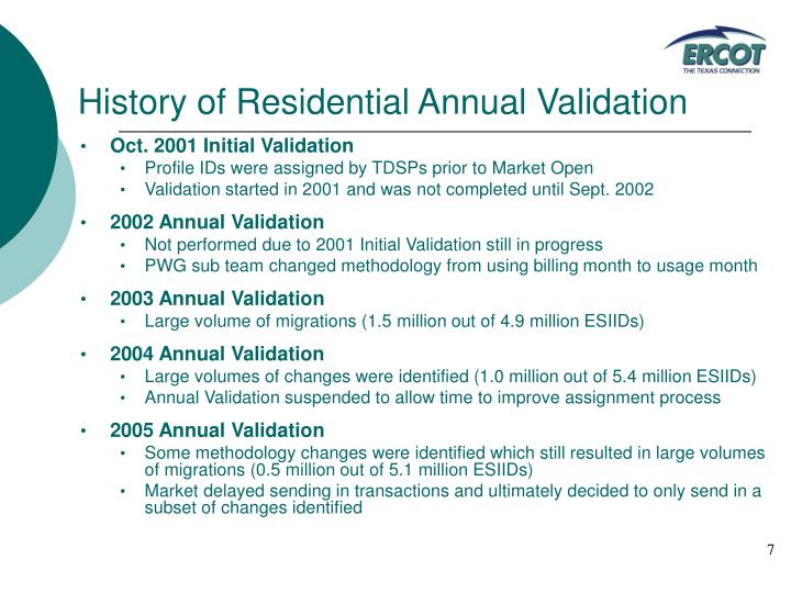 History of Residential Annual Validation