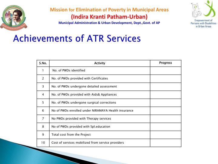 Achievements of ATR Services