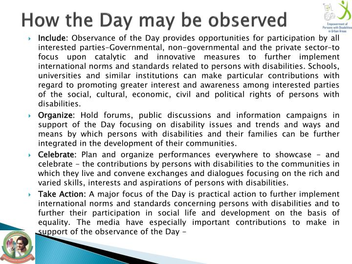 How the Day may be observed
