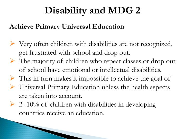 Disability and MDG 2
