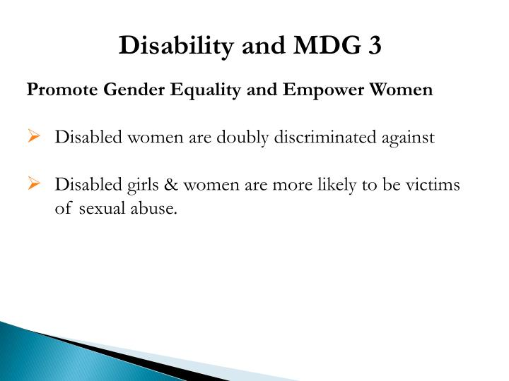 Disability and MDG 3