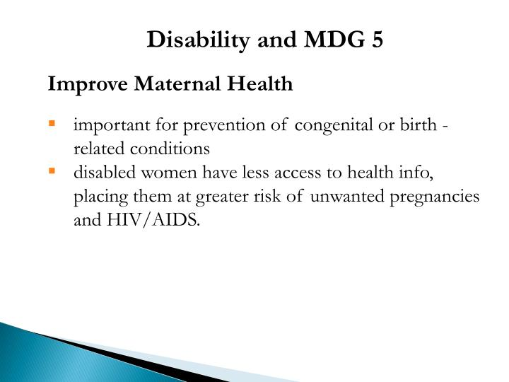 Disability and MDG 5