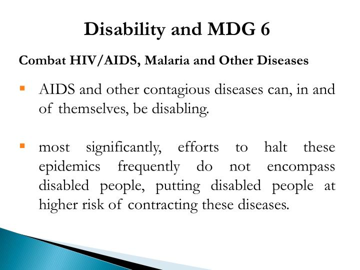 Disability and MDG 6