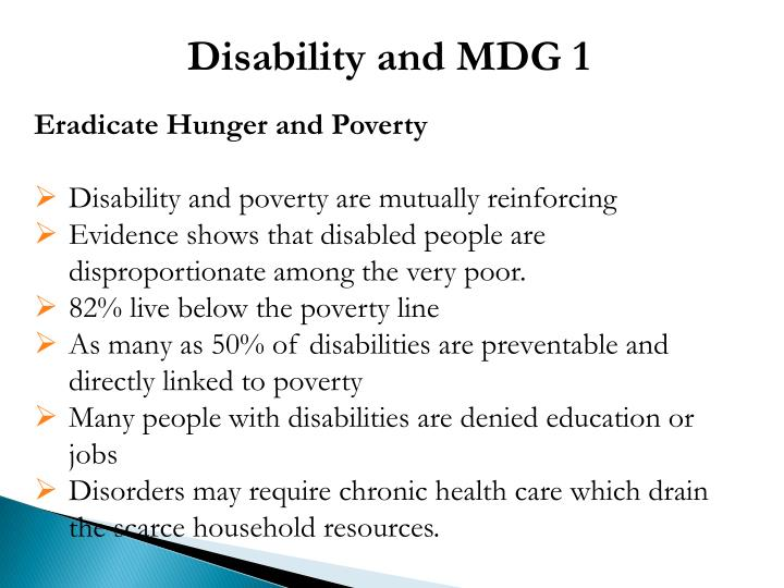 Disability and MDG 1