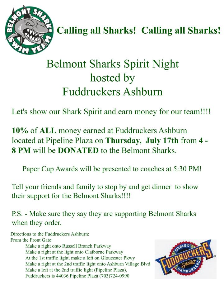 Belmont sharks spirit night hosted by fuddruckers ashburn