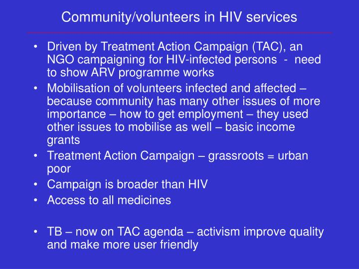 Community/volunteers in HIV services