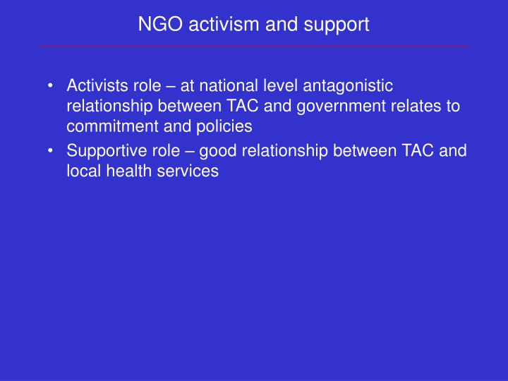 NGO activism and support