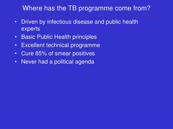 Where has the TB programme come from?